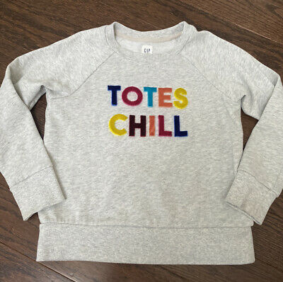 "Gap Kids Girls S 6-7 Velvet ""Totes Chill"" Gray Pullover Sweatshirt Excellent"