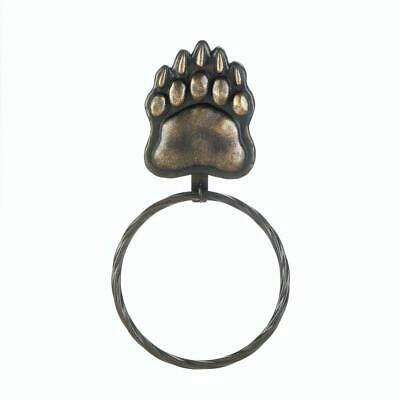 """3 Country Woods Style Bear Paw Inspired Large Iron Wall Towel Ring 12.2"""" long"""