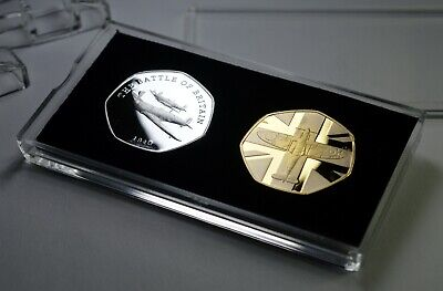 Pair of BATTLE OF BRITAIN Commemoratives in 50p Coin Display Case. SPITFIRE WW2