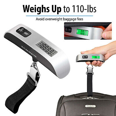 110lb/50kg LCD Digital Hanging Luggage Scale Portable Travel Electronic Weight