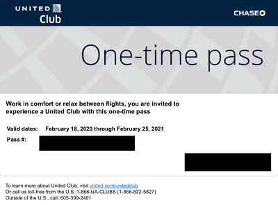 United Club One Time Pass - Expire 2/25/2021 - E-Delivery