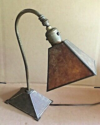 Antique Arts & Crafts Mission Desk Lamp Mica Shade