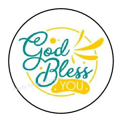 "30 GOD BLESS YOU ENVELOPE SEALS LABELS STICKERS PARTY FAVORS 1.5/"" ROUND"