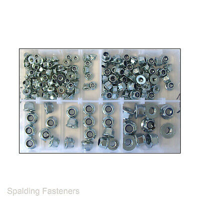 Assorted M5 to M10 Metric Zinc Plated Hexagon Flanged Nyloc Locking Nuts