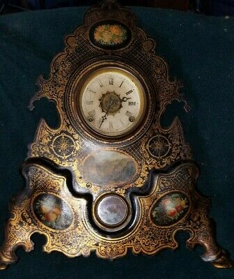 VICTORIAN 1850's MANTEL CLOCK WITH PAINTED CAST IRON FACE 20''