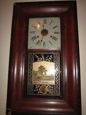 American Chiming Wall Clock Jerome & Co + original key/ Antique in working order