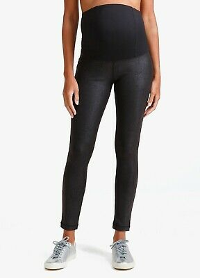 New! $98 Ingrid & Isabel Faux Leather Maternity Leggings, Black; SMALL