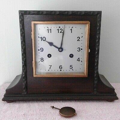 Vintage Square Ornate and Decorative Striking Mantel Clock with Pendulum