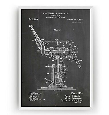 Barbers Chair 1910 Patent Print - Barbershop Decor Art Gift Poster - Unframed
