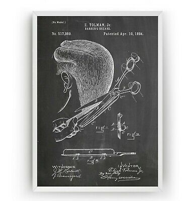 Barbers Shears 1894 Patent Print - Barbershop Scissors Art  Poster - Unframed