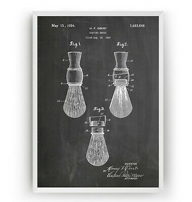 Shaving Brush 1924 Patent Print - Barbershop Decor Art Gift Poster - Unframed