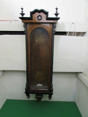 Antique Vienna Walnut Veneered & Ebonised Column Wall Clock Case