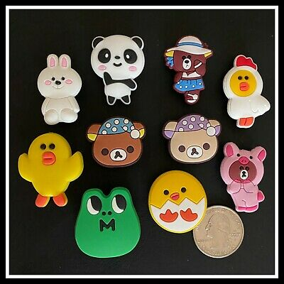 8 Shoe Charms for Crocs LINE FRIENDS Sally Chick Brown Choco Bear Panda Cony