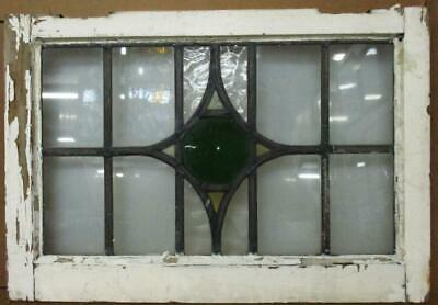 """OLD ENGLISH LEADED STAINED GLASS WINDOW Nice Geometric Transom 28.25"""" x 18"""""""