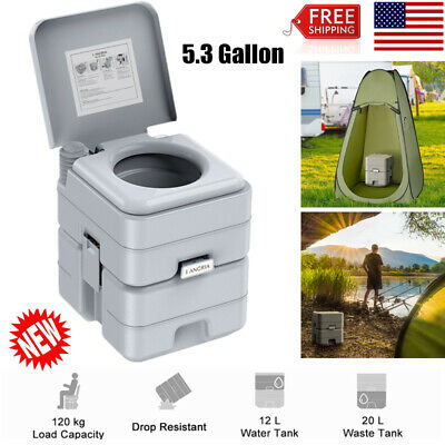5.3 Gallon 20L Portable Outdoor Flush Toilet Camping Emergency Use Potty Commode