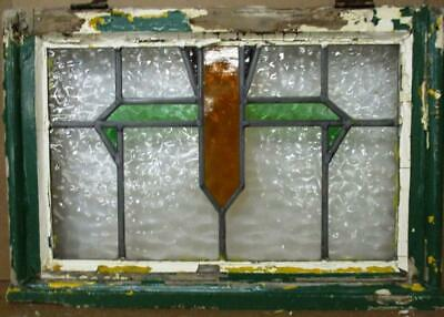 """OLD ENGLISH LEADED STAINED GLASS WINDOW Abstract Geometric 23.75"""" x 16.25"""""""