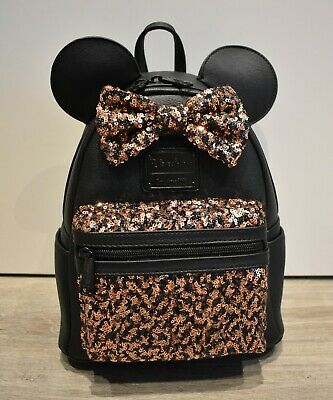 Disney Parks Loungefly Minnie Mouse Belle Bronze sequin Mini Backpack NWT
