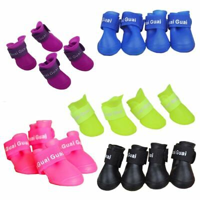Purple M, Pet Shoes Booties Rubber Dog Waterproof Rain Boots V8P6