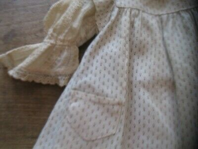 """ANTIQUE EARLY 14"""" CALICO DOLL DRESS w/ LOVELY LACE UNDERDRESS"""