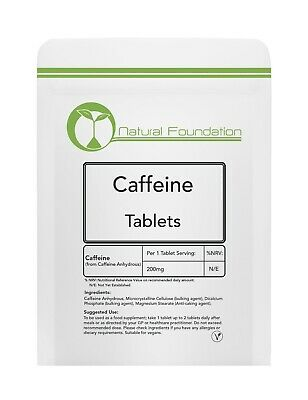 Caffeine 200mg Tablets - Energy, Reduce Fatigue, Alertness, Increase Stamina