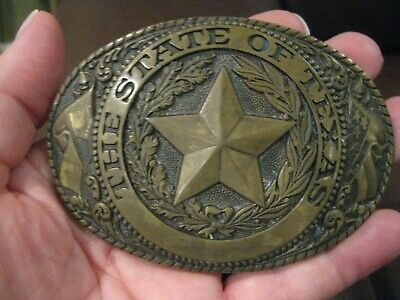 Vintage Belt Buckle The State Of Texas Tony Lama Collection Solid Brass Good !!!