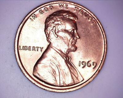 1969 Lincoln Memorial Cent Penny Brilliant Uncirculated Red BU from OBW Roll