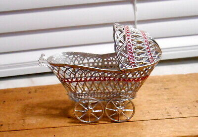 Victorian Germany Soft Metal Baby Carriage Ornament