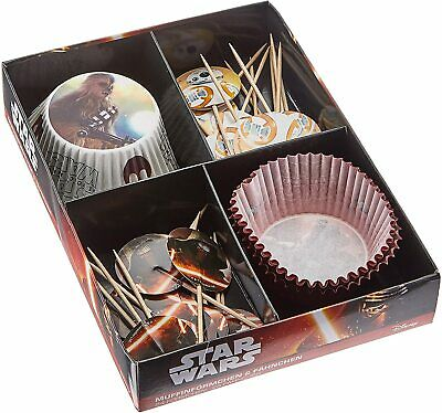 Disney Star Wars 24 Paper Muffin Cases With 24 Decoration Flags