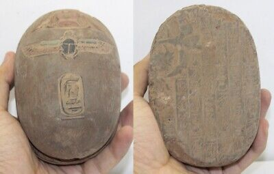 RARE ANCIENT EGYPTIAN ANTIQUE SCARAB Stone With Horus 1685-1578 BC