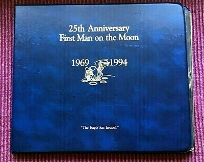 First Man on the Moon 25th Anniv 1994 Fleetwood Stamp, Coin, & Signed Print