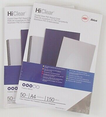 100 sheets 240 Micron A4 Clear GBC PVC Binding Report Covers HiClear Face Visor