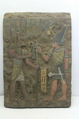 RARE ANCIENT EGYPTIAN ANTIQUE ANUBIS and Ramses In Temple Stella 1658-1563 BC