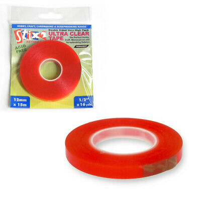 12mm Wide Best Quality Ultra Clear Double Sided Craft Tape - 15m
