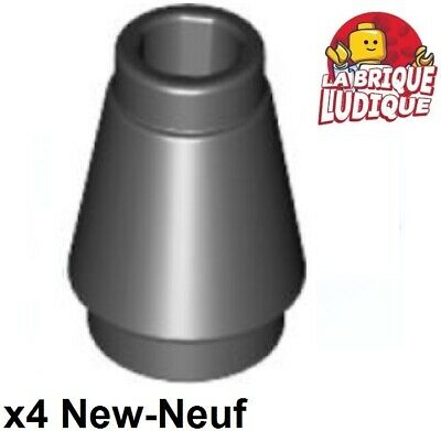 4x Cone 1x1 with Top Groove beige//tan 4589b NEUF Lego