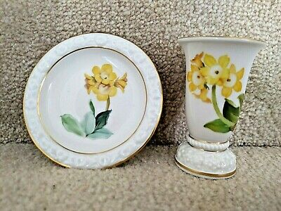 Porcelain Toothpick Holder Tray Rosenthal Selb Germany Maria Yellow Flowers Vase