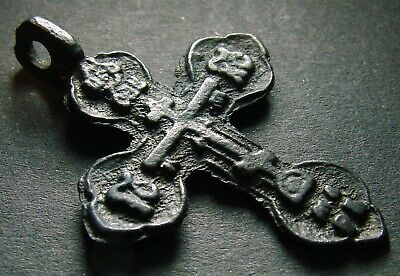 VERY ANCIENT BRONZE CROSS. RELIGIOUS ARTIFACT 17 - 18 CENTURY. 42 mm. (R.079)