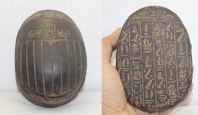 RARE ANCIENT EGYPTIAN ANTIQUE SCARAB Stone With Horus Eye 1895-1754 BC