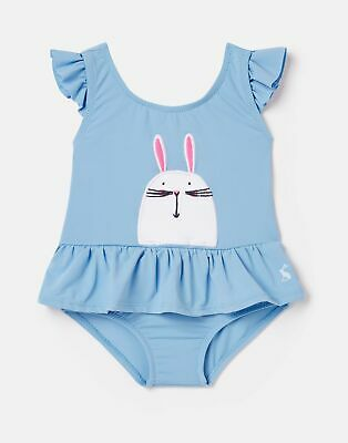 Joules Baby Girls Frillwell Swimming Costume  - Blue Bunny