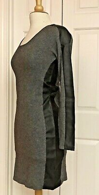 FIRTH Casual Dress Cashmere/Wool Blend Faux Leather Trim, Size S, NWT $238