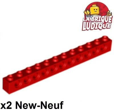 LEGO 2 x Technik Lochstein rot Red Technic Brick 1x14 with Holes 32018 4173800