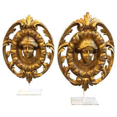 Two Art Nouveau Gilded Wooden Italian Fragments, About 1900