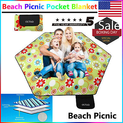 Beach Picnic Pocket Blanket Water /& Sand Proof for Travel Camping Hiking 79x79In