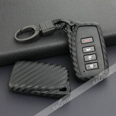For Lexus Carbon Fiber Car Key Fob Case Cover Chain Ring Keychain Accessories