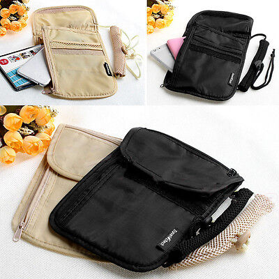 Secure Passport Neck Pouch Money Cord Clothes Wallet Organizer Holder Bag HJ