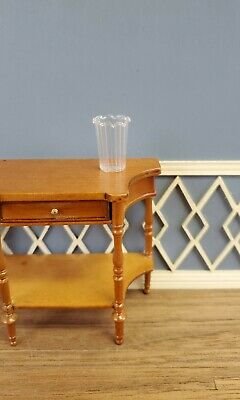 Dollhouse Miniature Vase Tall Ribbed Clear for Flowers 1:12 Scale Real Glass