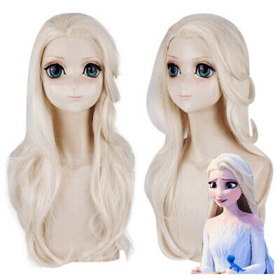 Movie Frozen 2 Princess Cosplay Elsa Wigs Ice Queen White Wavy Party Hairs Gift*