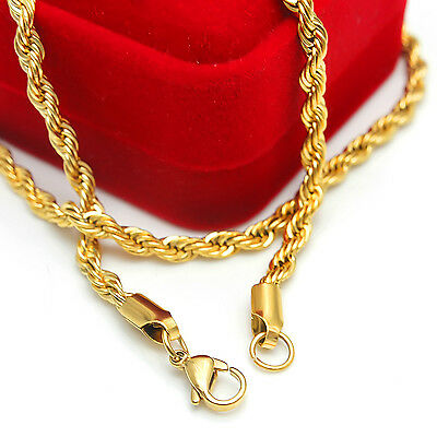 Lot 10pcs Gold  stainless steel 4mm Singapore twisted chain Necklace 21.6''