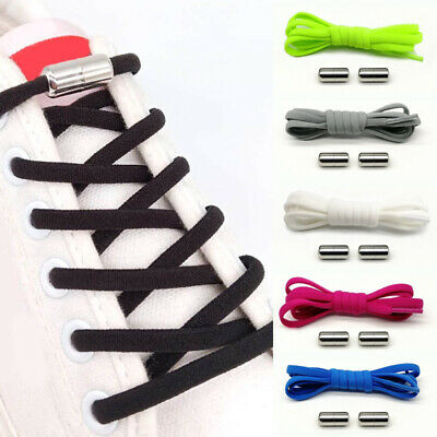 Elastic No Tie Shoe Laces Silicone Shoelaces For Adults Kids Trainers Shoes New
