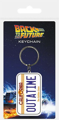 Back To The Future Outatime License Plate Rubber Keyring New 100% Official