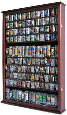 144 Shot Glass Display Case Wall Rack Cabinet Shadow Box LOCKABLE SC16L-MAH